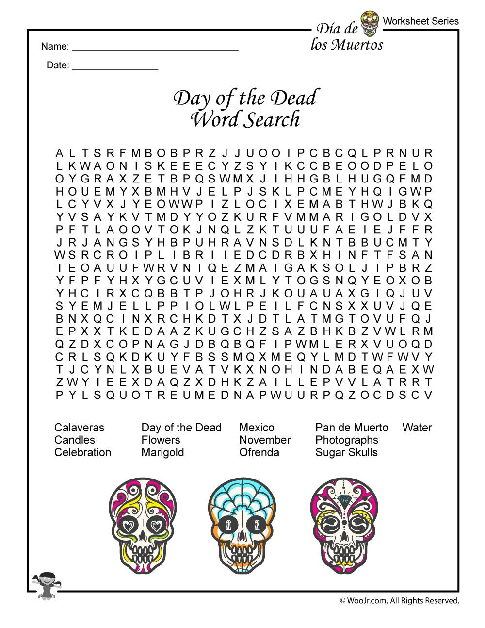 Day of the Dead Activities Worksheets & Lesson Plan