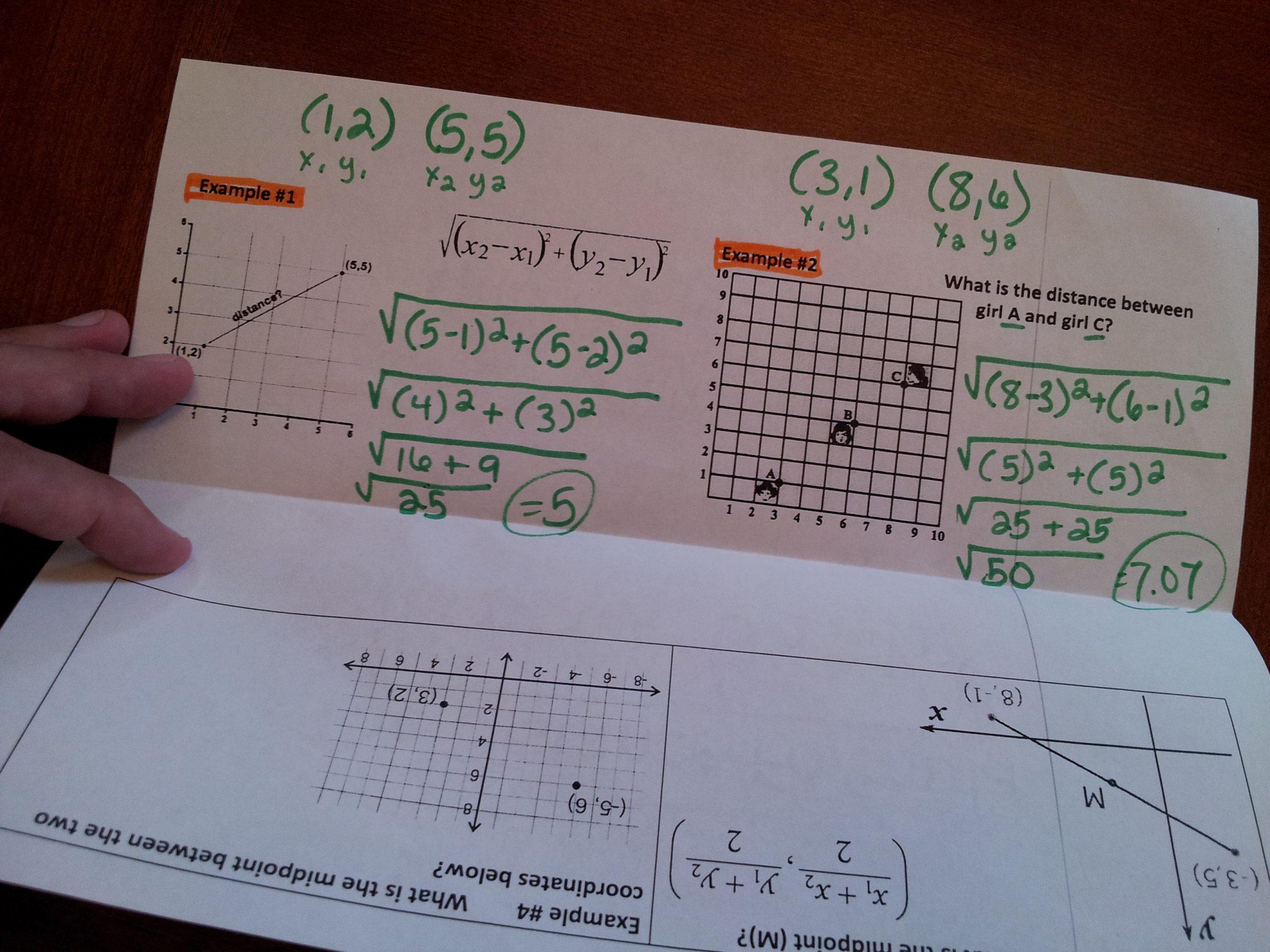 Distance formula Worksheet Geometry