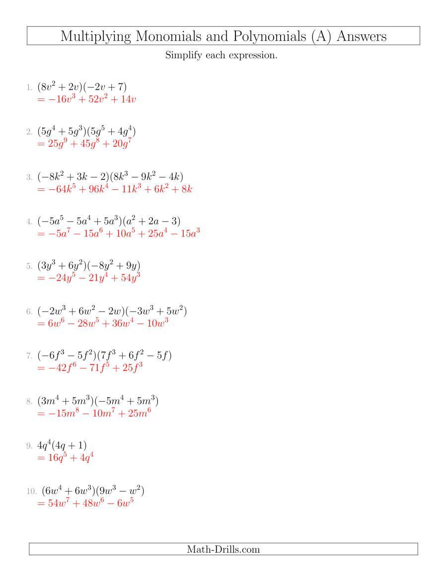 Division Of Polynomials Worksheet
