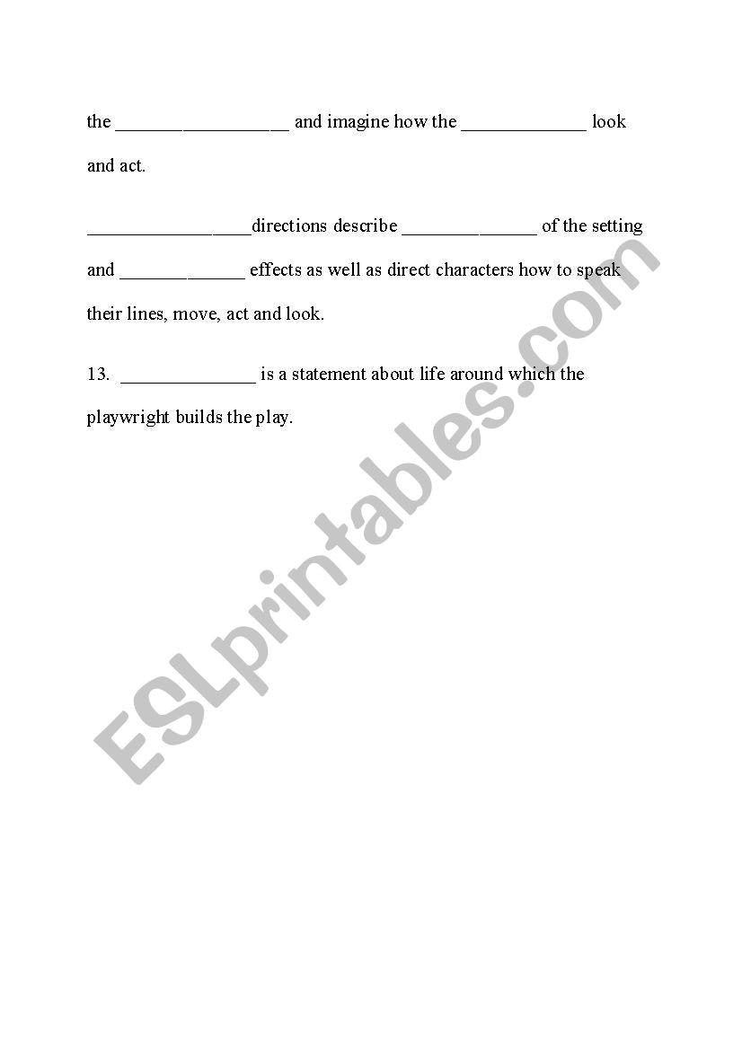 Elements Of Drama Worksheet
