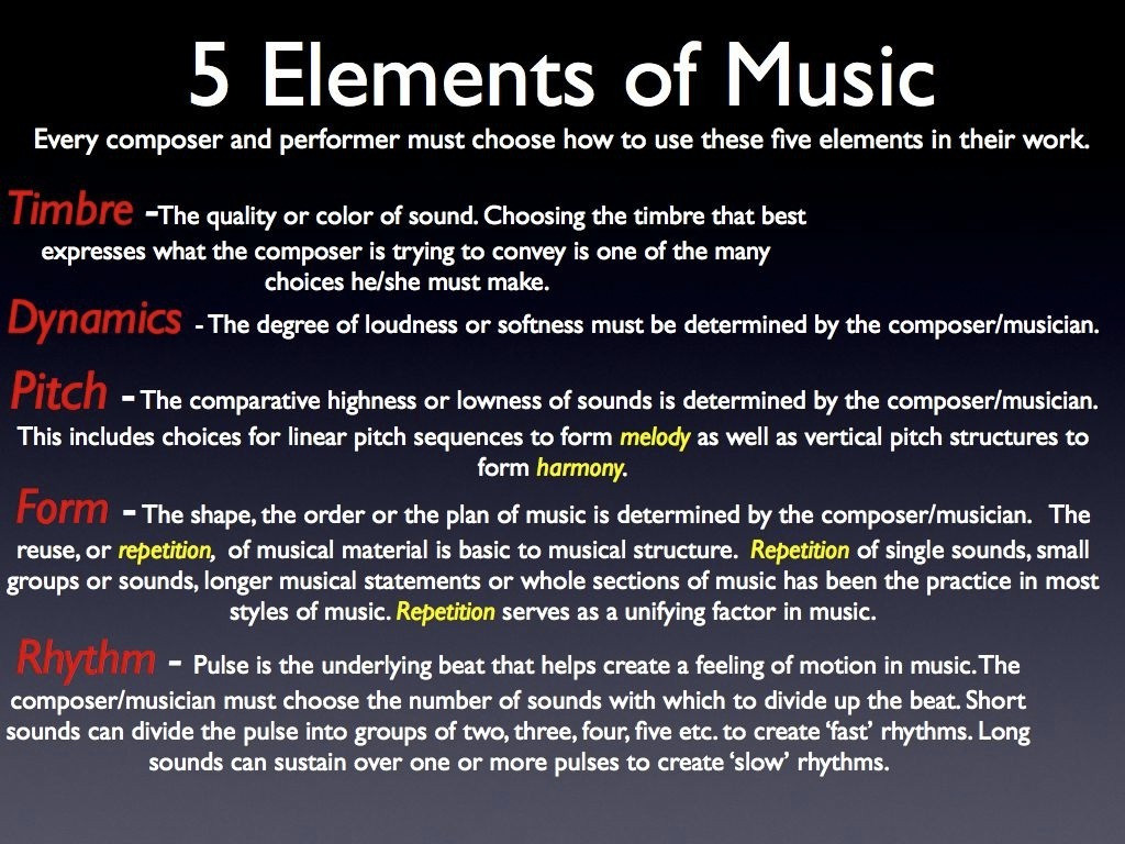 Elements Of Music Worksheet