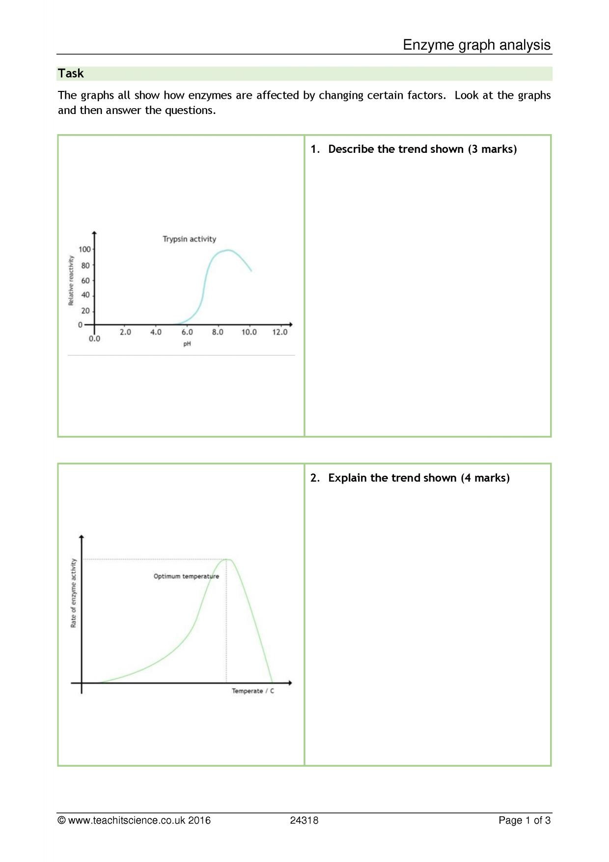 Enzyme Reactions Worksheet Answers