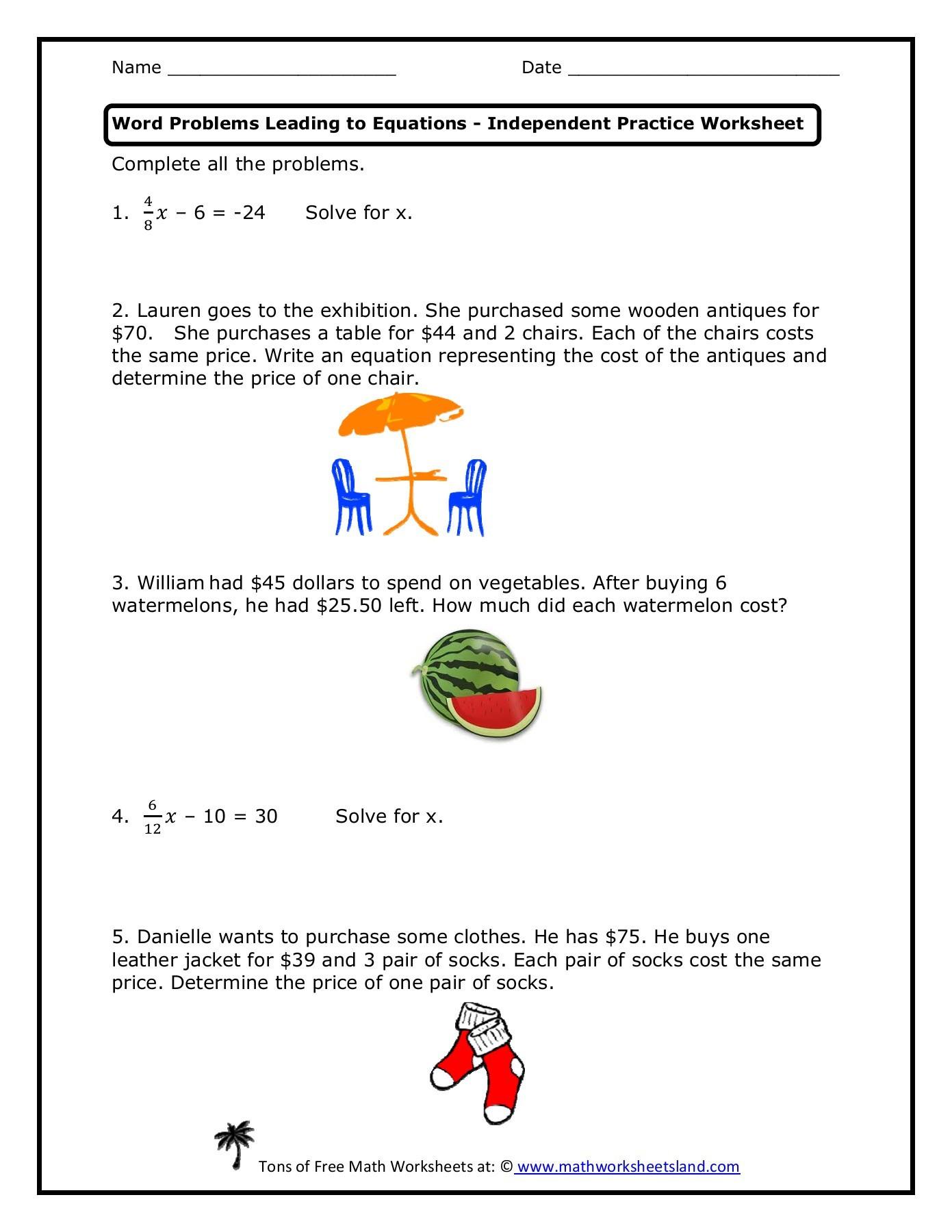 Equation Word Problems Worksheet