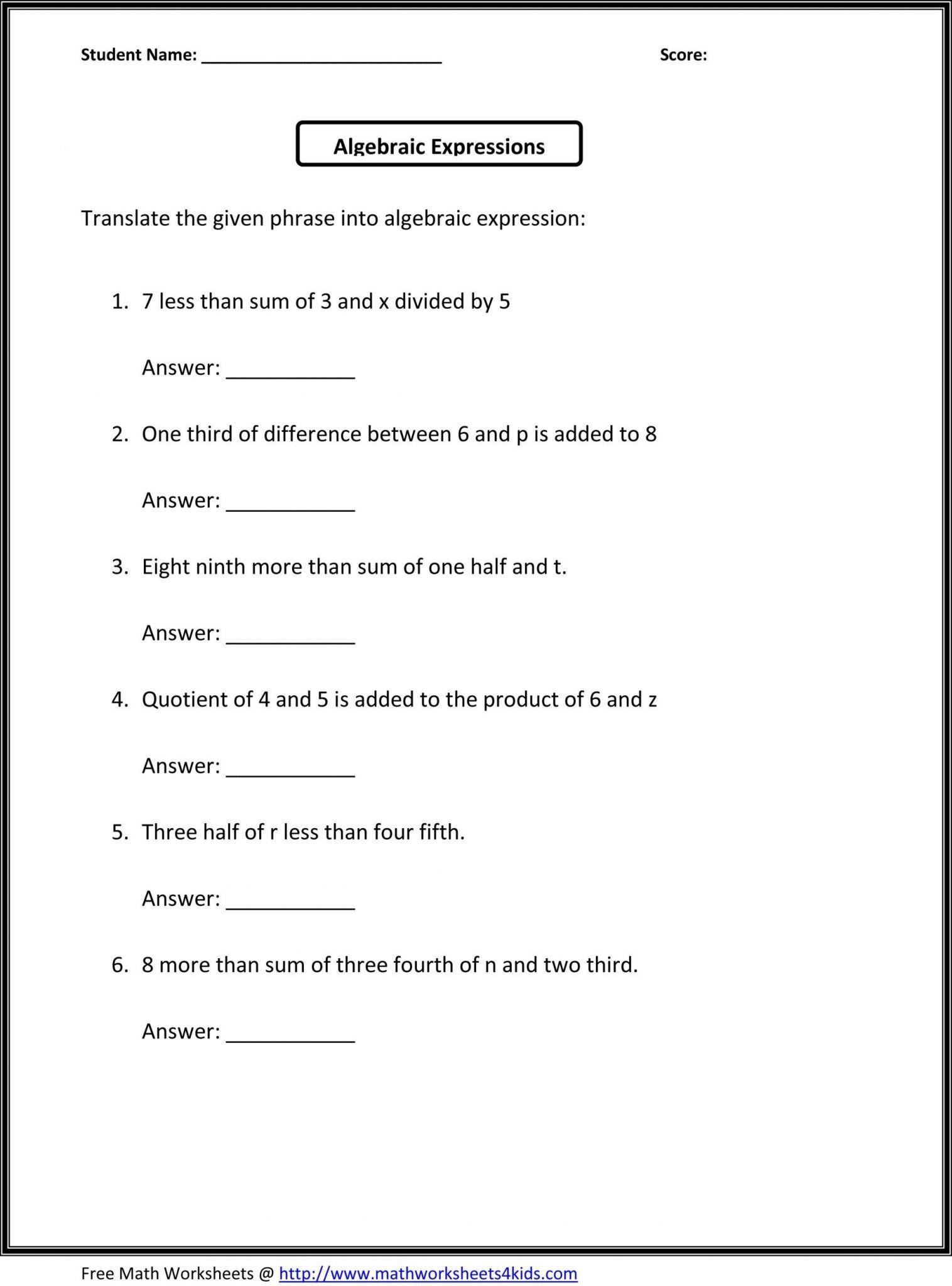 Evaluating Variable Expressions Worksheet