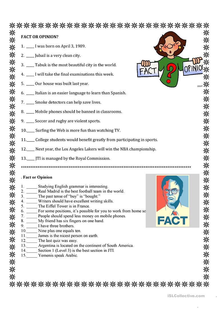 Fact or Opinion Worksheet