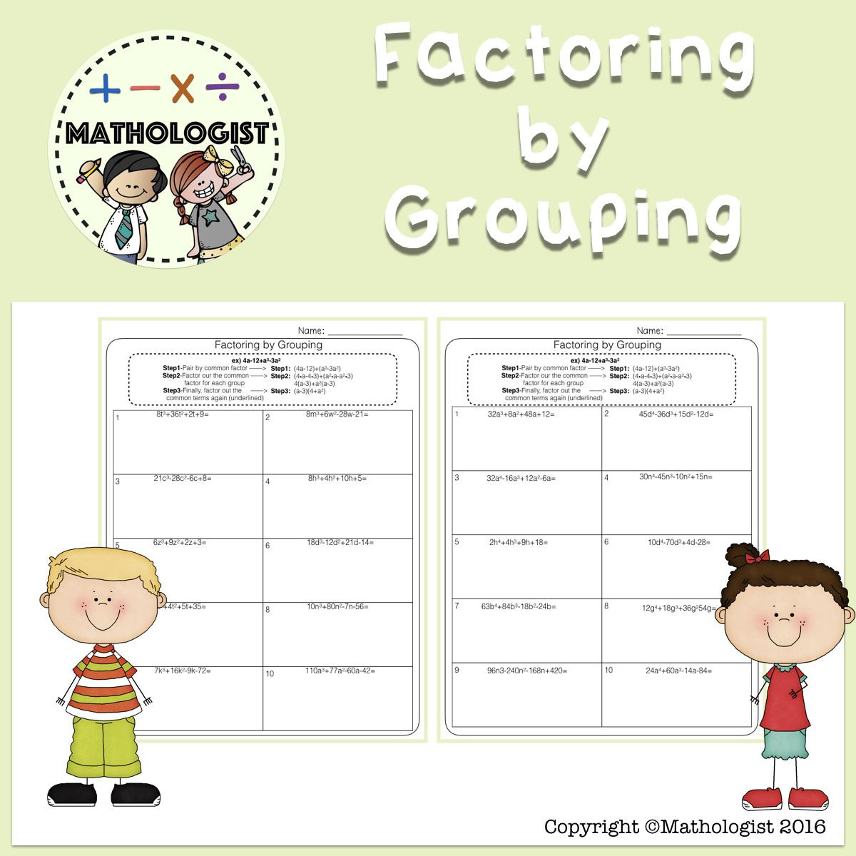 Factor by Grouping Worksheet
