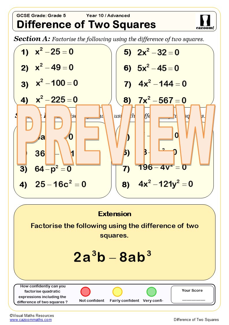 Factoring Quadratic Expressions Worksheet Answers