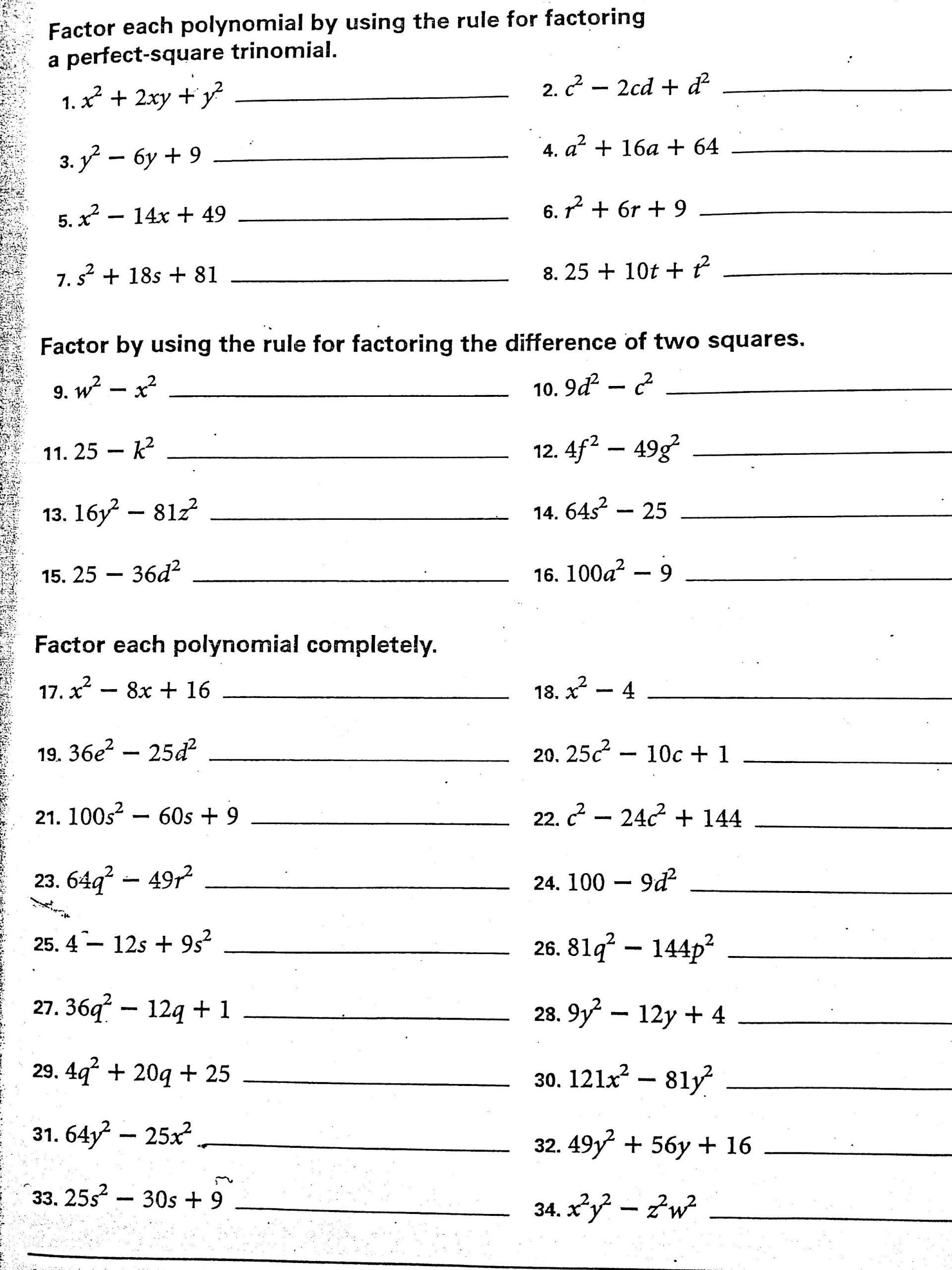 Factoring Worksheet Algebra 2