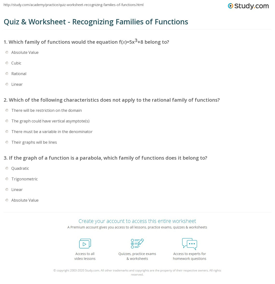 Quiz & Worksheet Recognizing Families of Functions