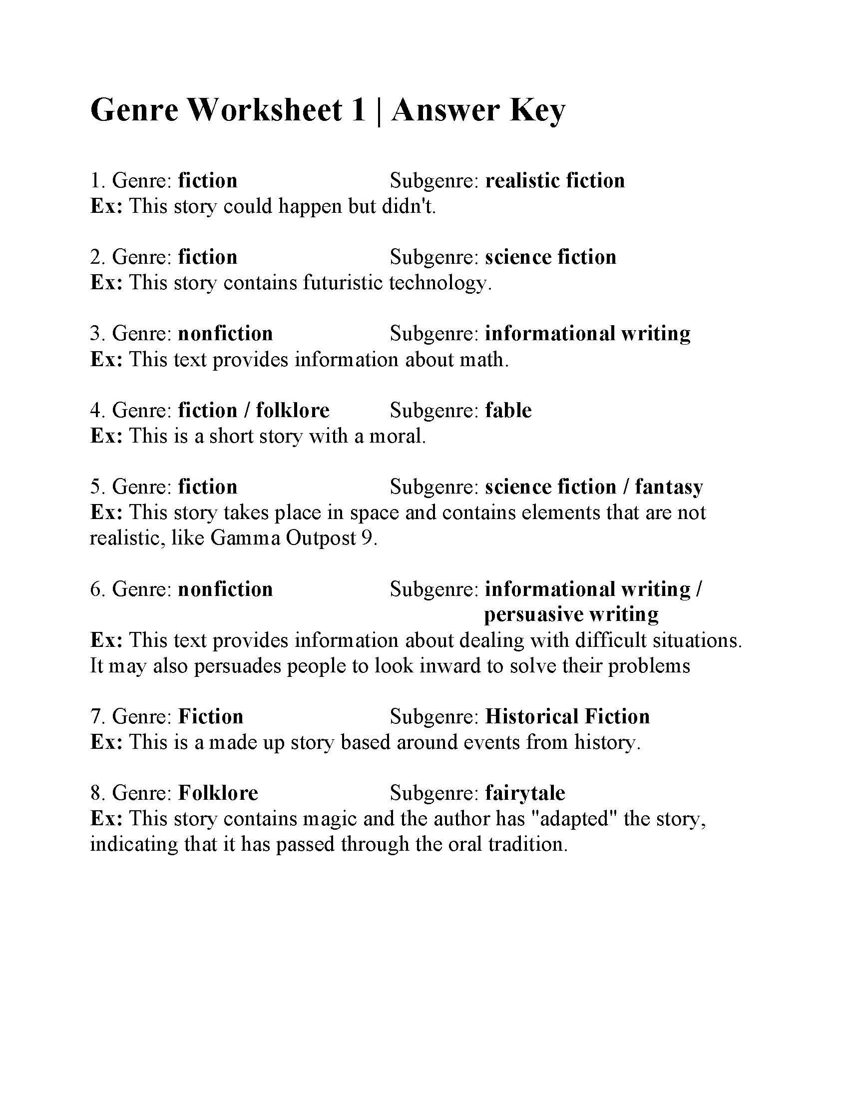 Fiction Vs Nonfiction Worksheet