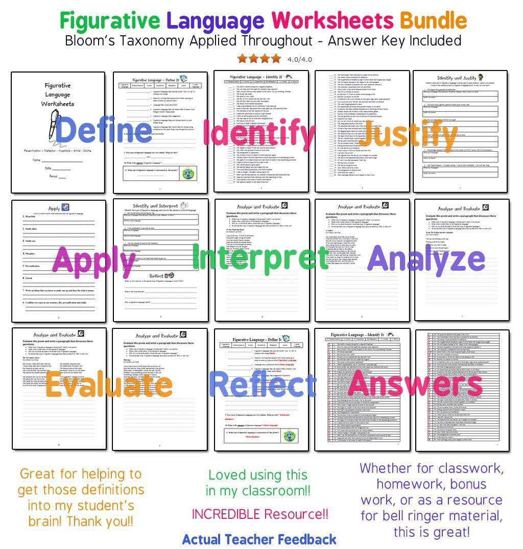 Figurative Language Review Worksheet