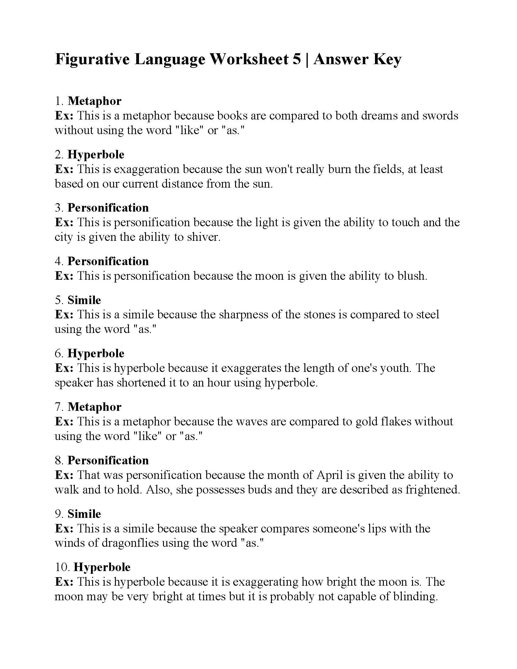 30 Figurative Language Worksheet 2 Answers | Education ...