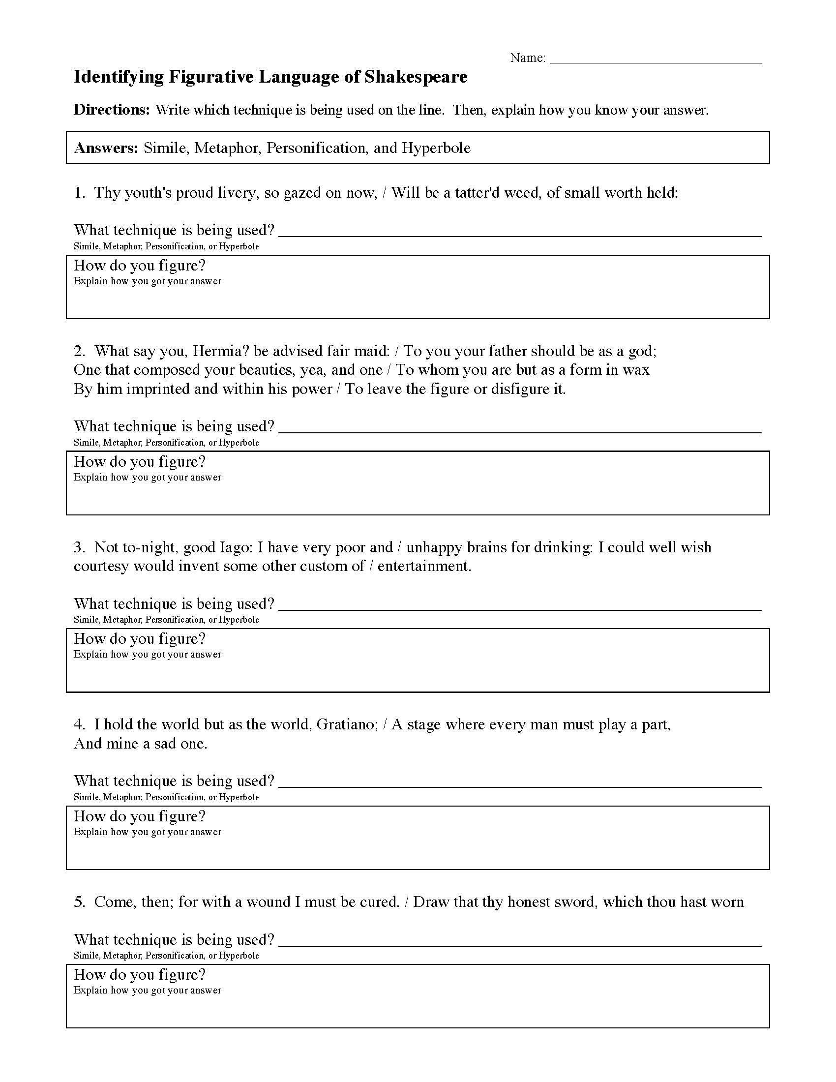 Figurative Language Worksheet 2 Answers