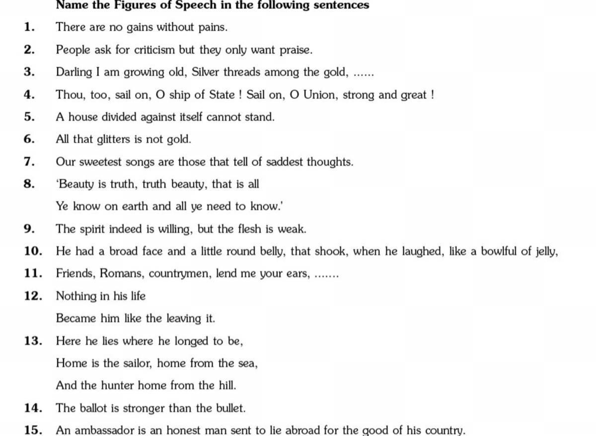 Figures Of Speech Worksheet