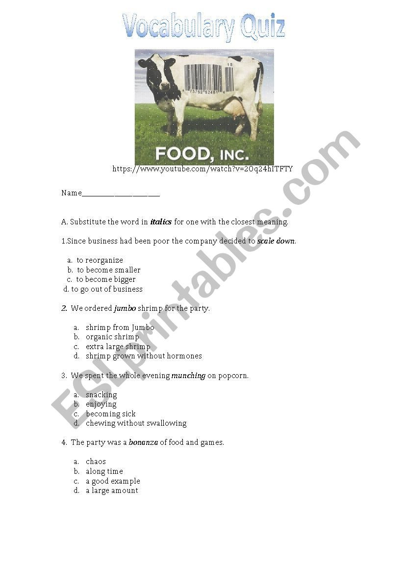 Food Inc Movie Worksheet