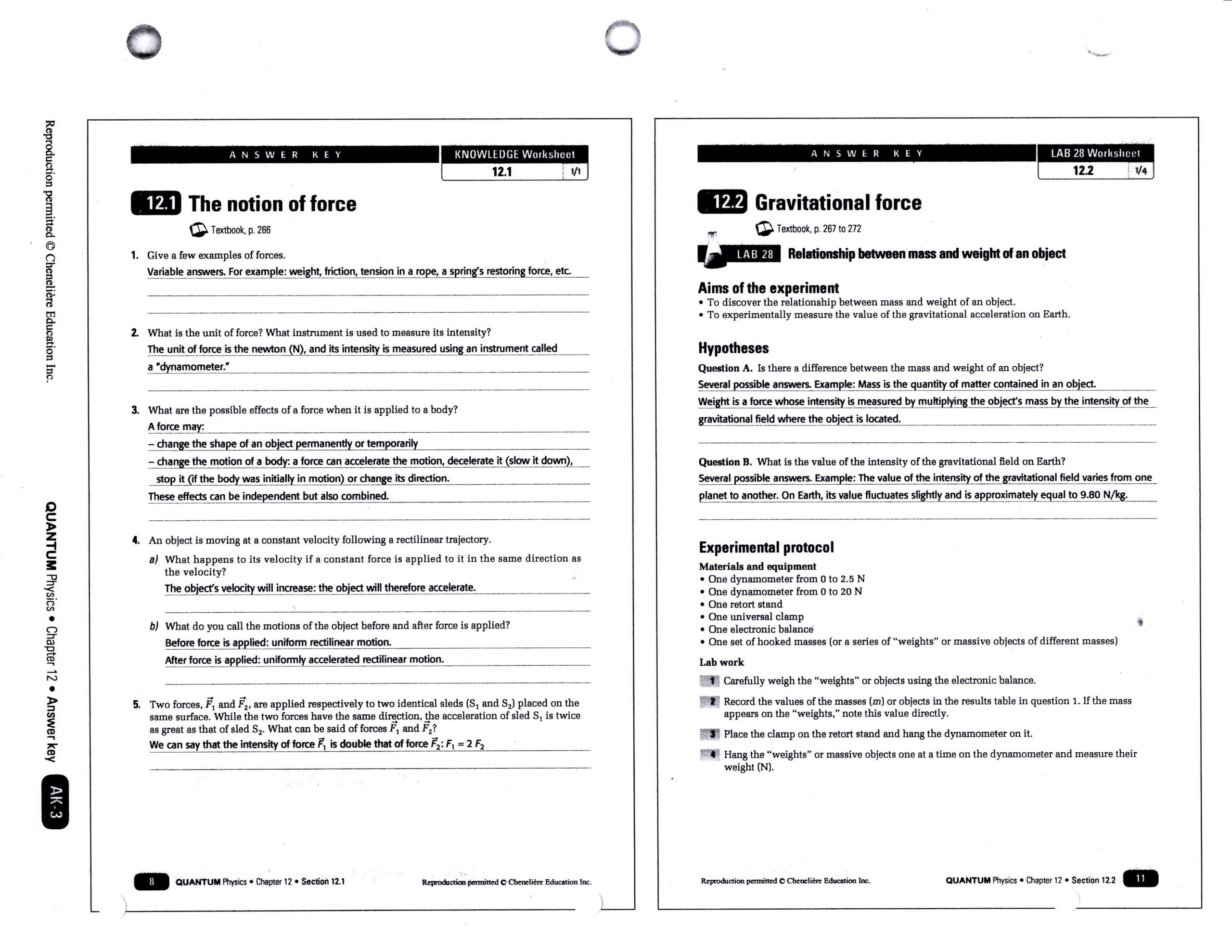 Force and Motion Worksheet Answers