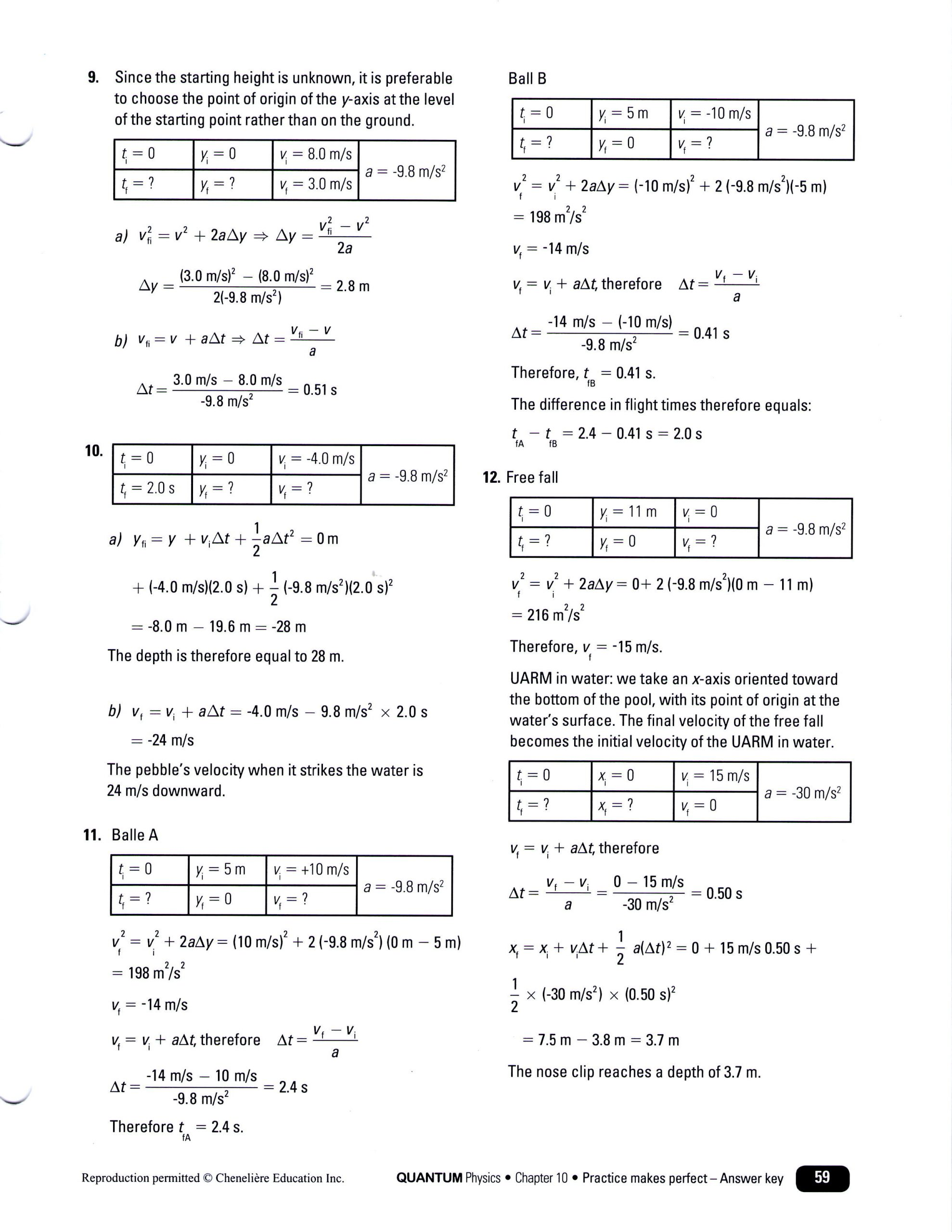 Free Fall Worksheet Answers