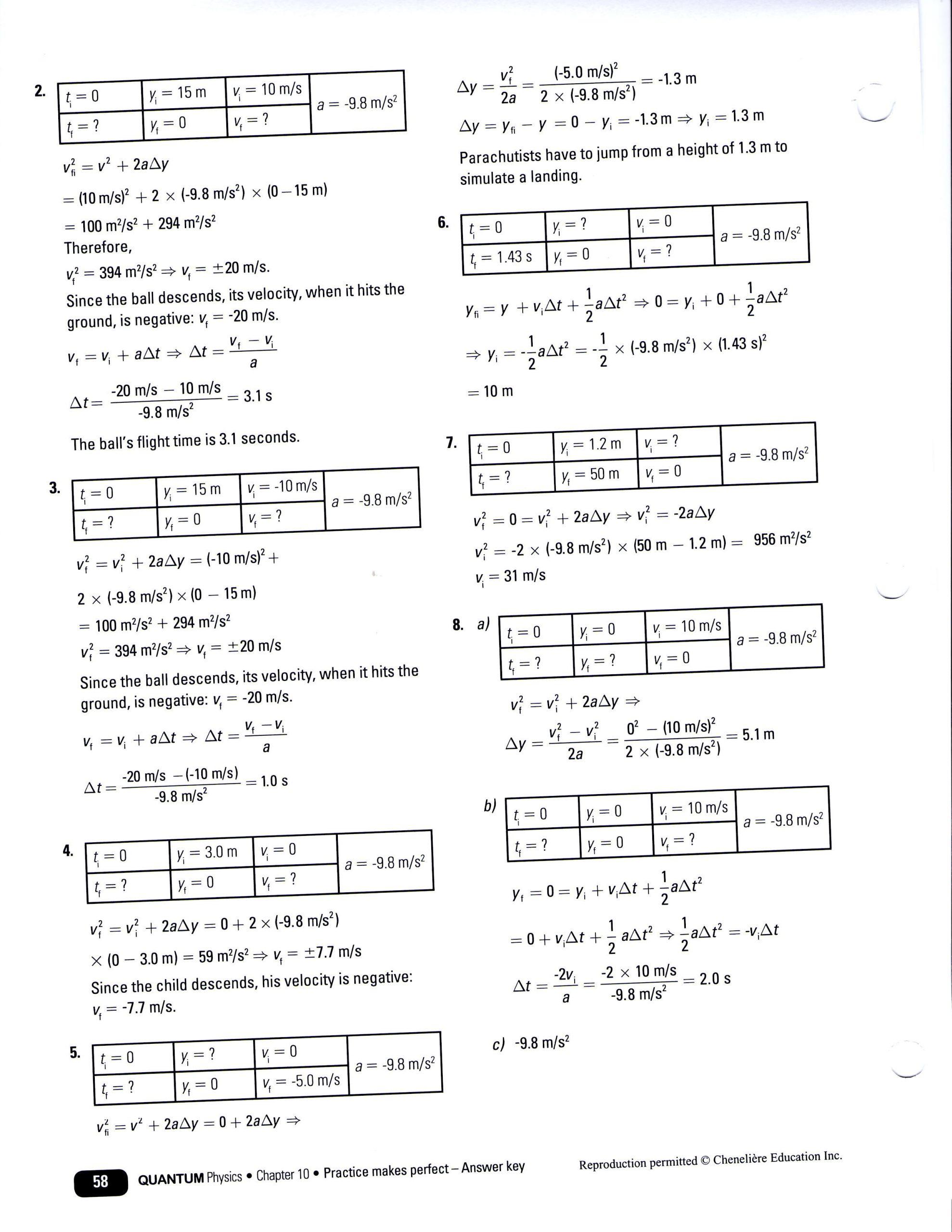 Free Fall Worksheet Answers