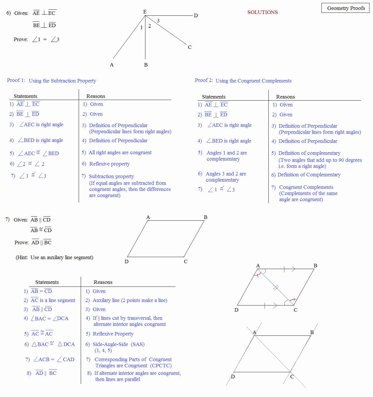 Geometry Worksheet Beginning Proofs Answers