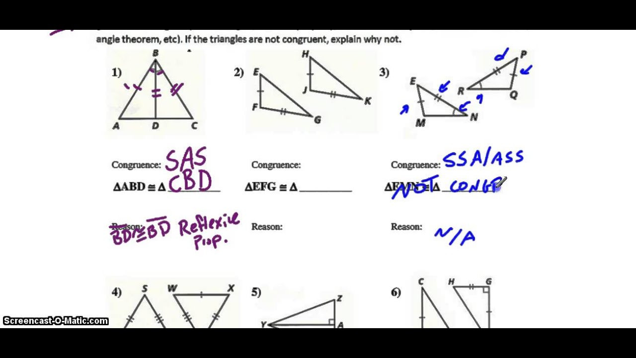 Triangle Congruence Tier 2 Triangle Congruence Worksheet