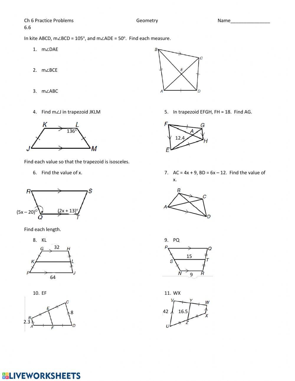 Geometry Worksheet Kites and Trapezoids