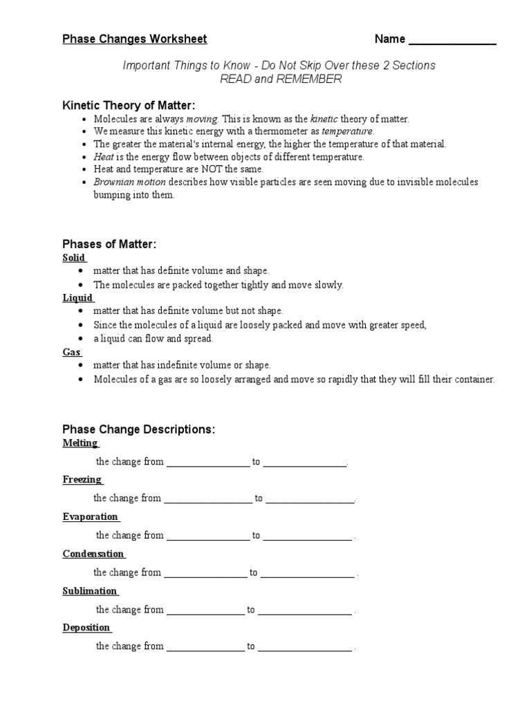 Heat and Temperature Worksheet