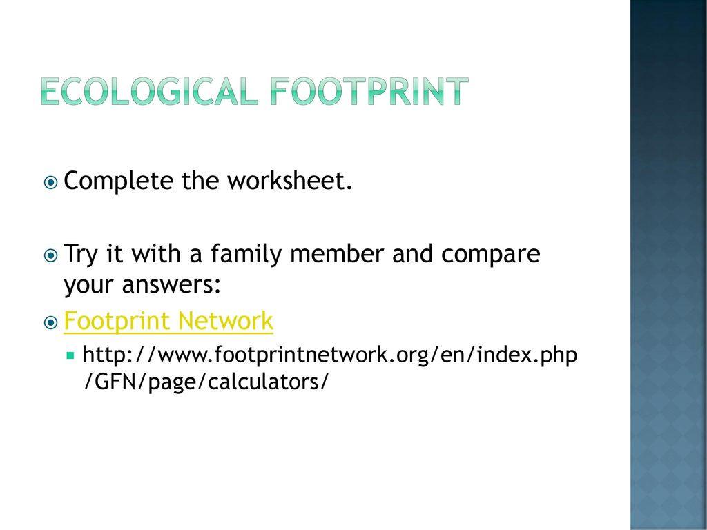 Human Footprint Worksheet Answers