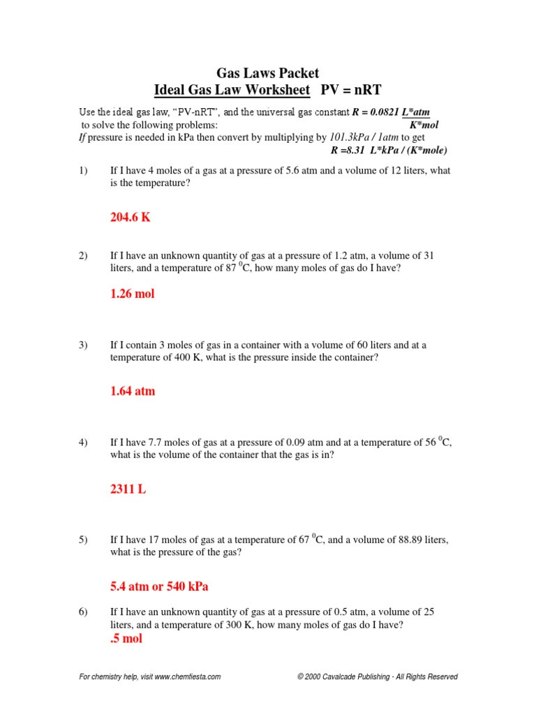 Gas Laws Packet Ideal Gas Law Worksheet PV = nRT