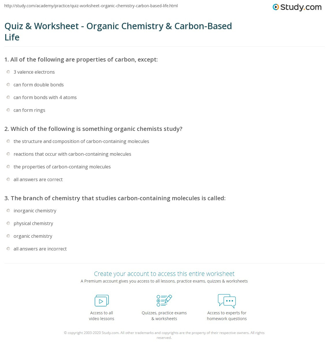 Introduction to Chemistry Worksheet