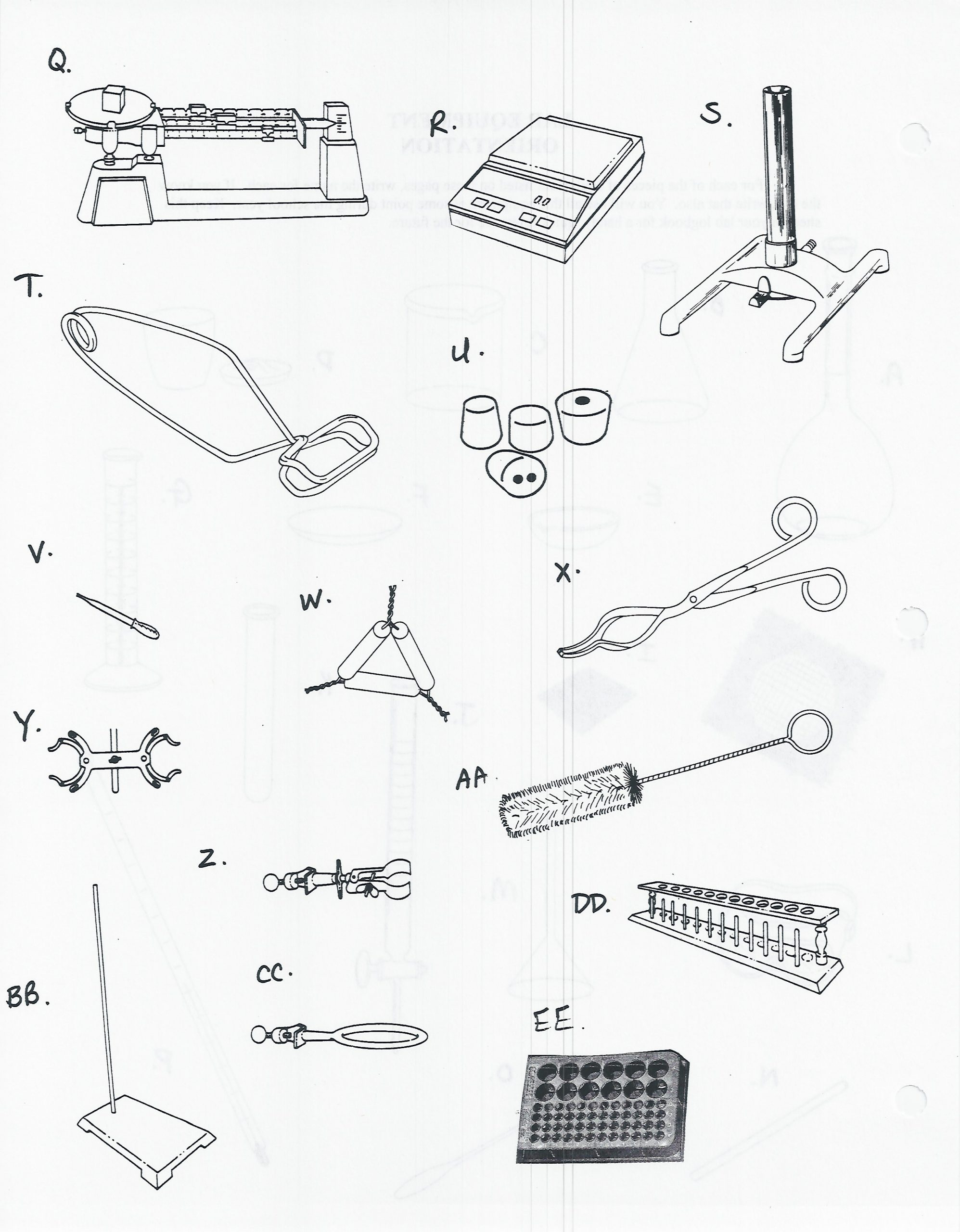 Lab Equipment Worksheet Answer