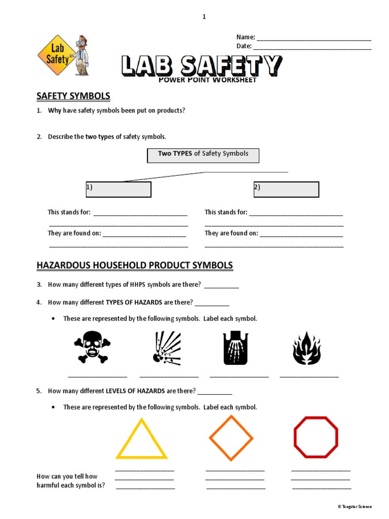 Lab Safety Worksheet Answer Key