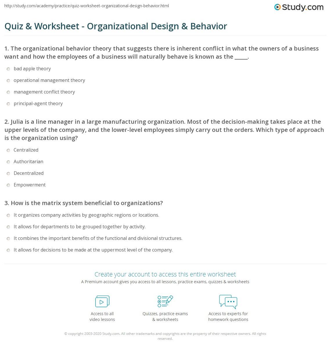 Level Of organization Worksheet
