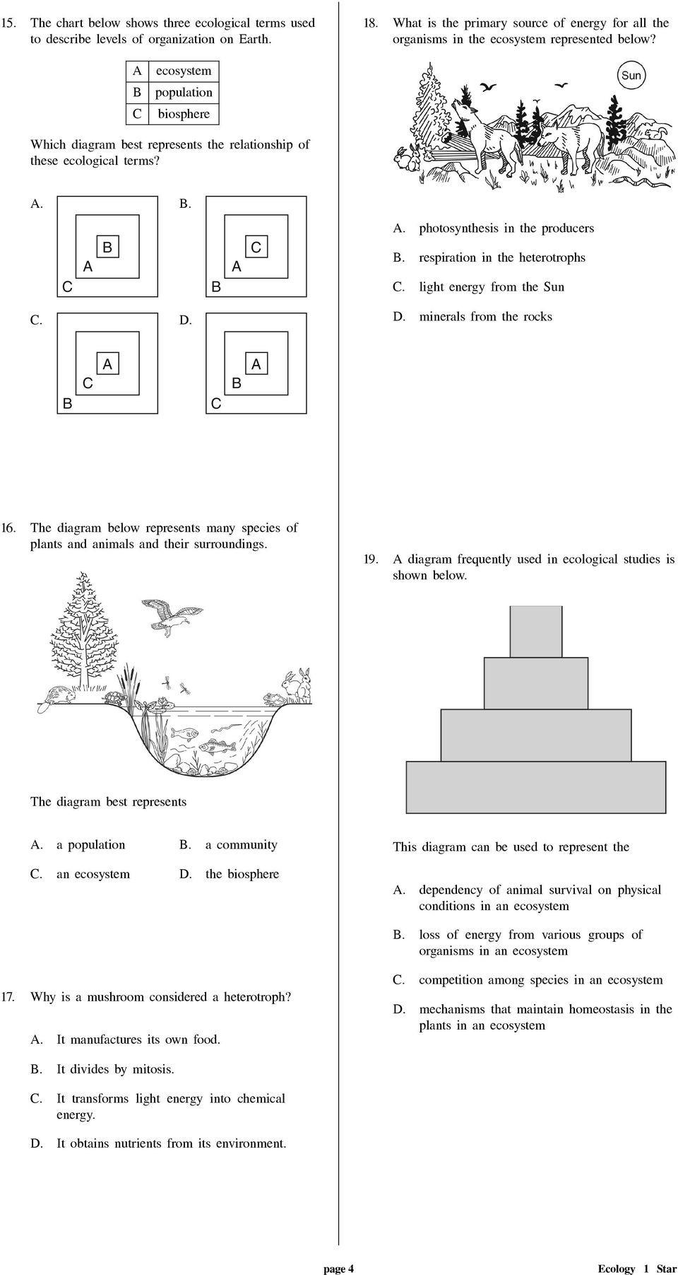 Levels Of Ecological organization Worksheet