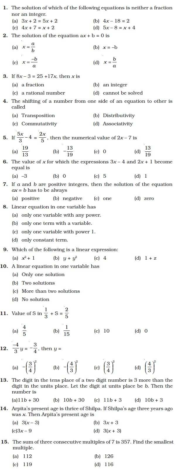 Linear Equation Worksheet with Answers