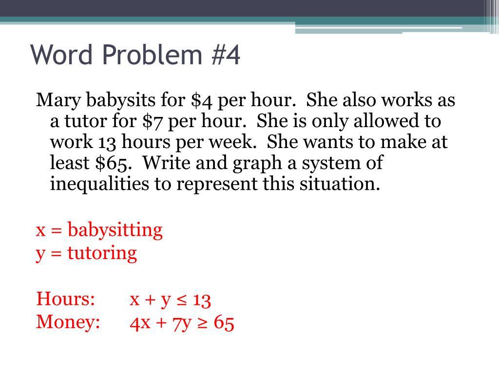 Linear Inequalities Word Problems Worksheet