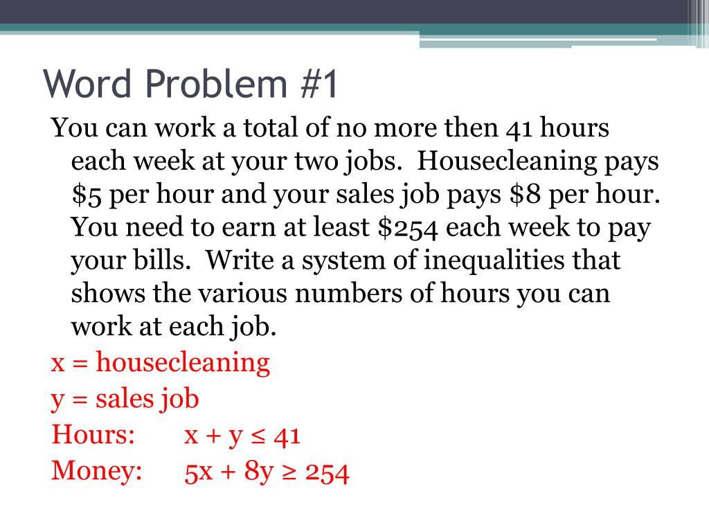 6 Inequalities Word Problems with solutions PPT 7 6 Systems