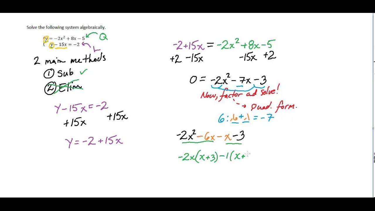 Alg II Solving Linear Quadratic Systems Algebraically Simple