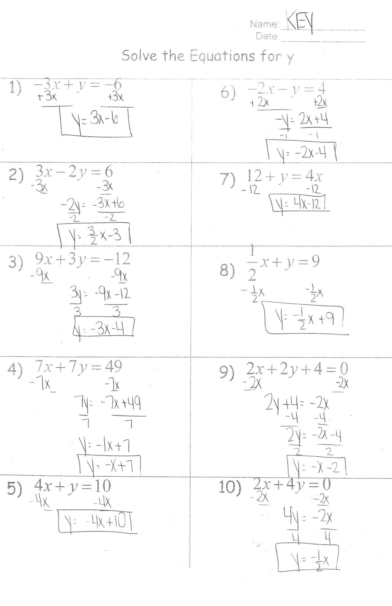 Literal Equations Worksheet Answer