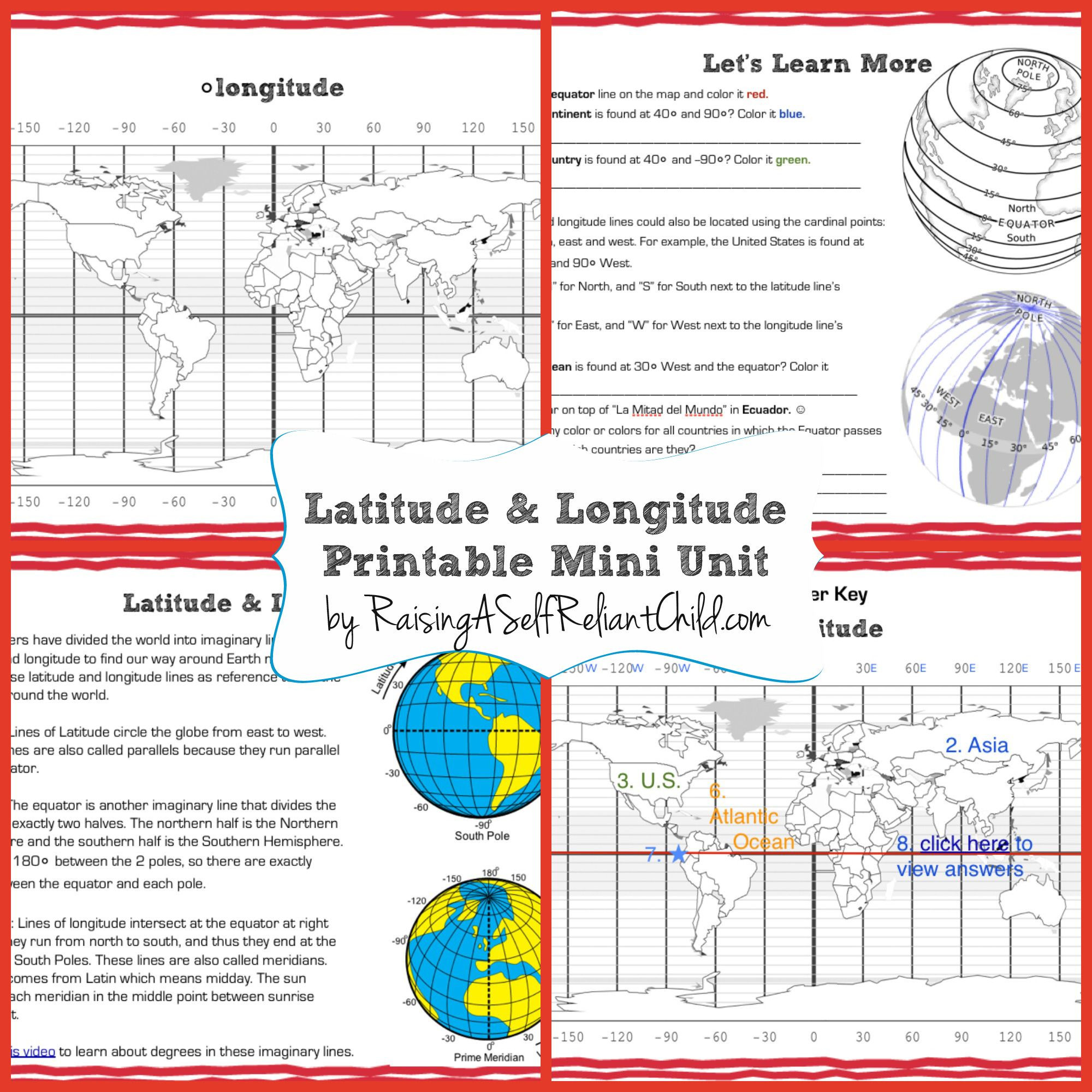 Longitude and Latitude Worksheet