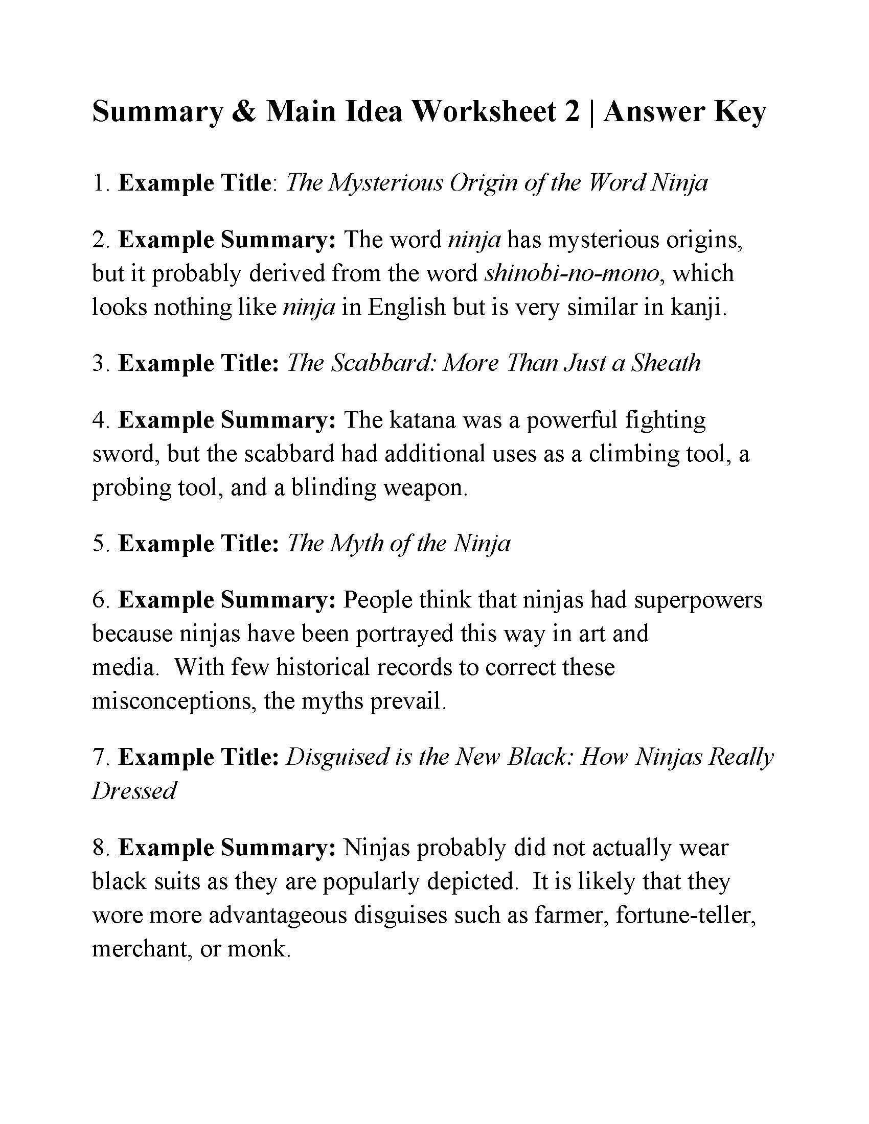 Main Idea Worksheet 5