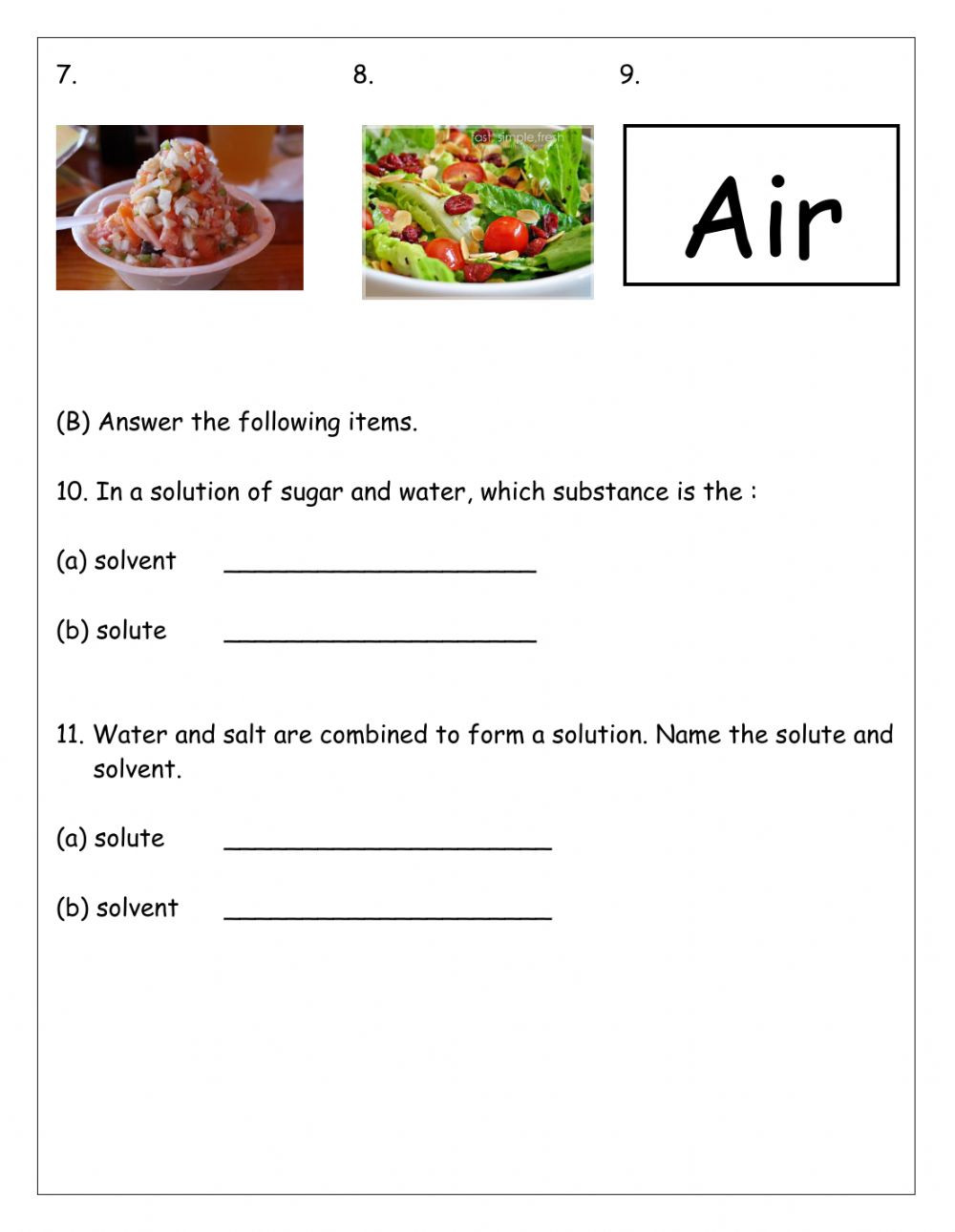 Mixtures and solutions Worksheet