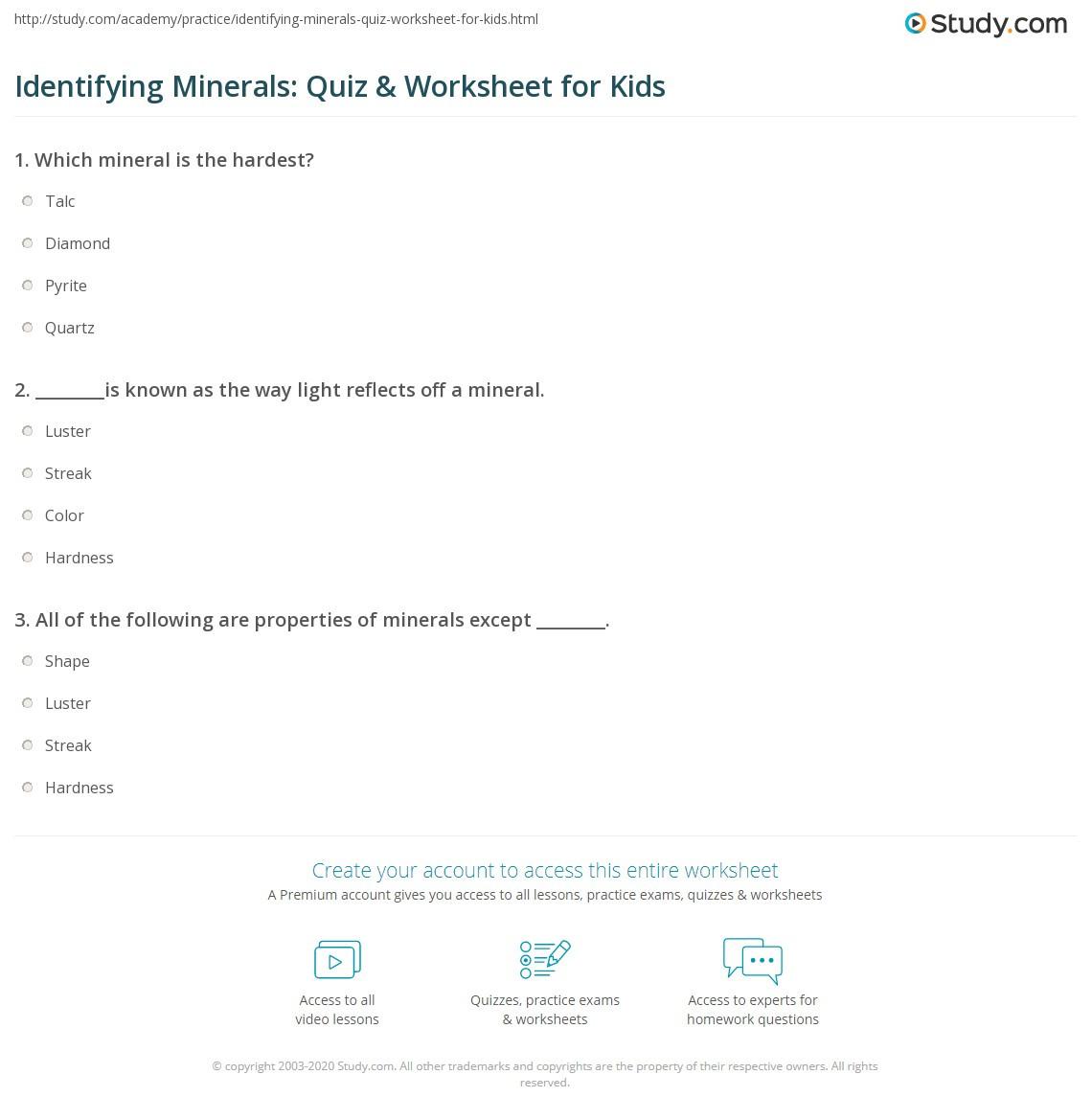 Mohs Hardness Scale Worksheet