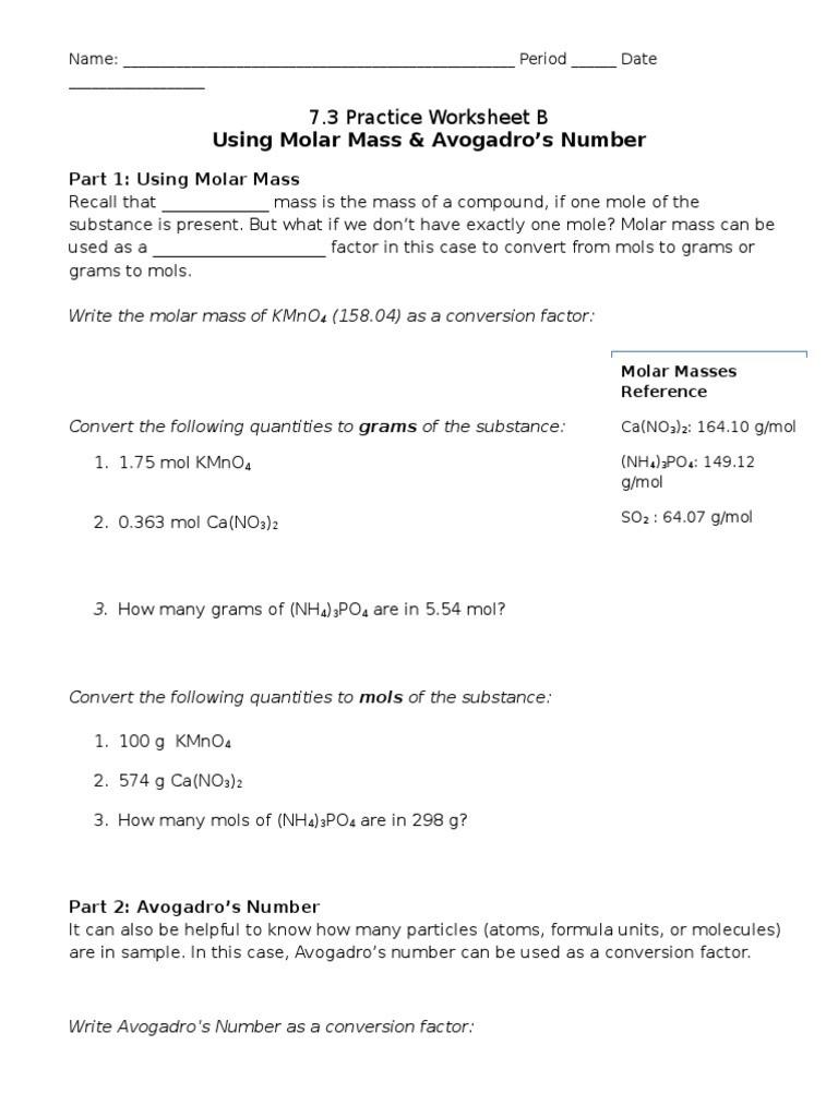 Molar Mass Worksheet Answer Key