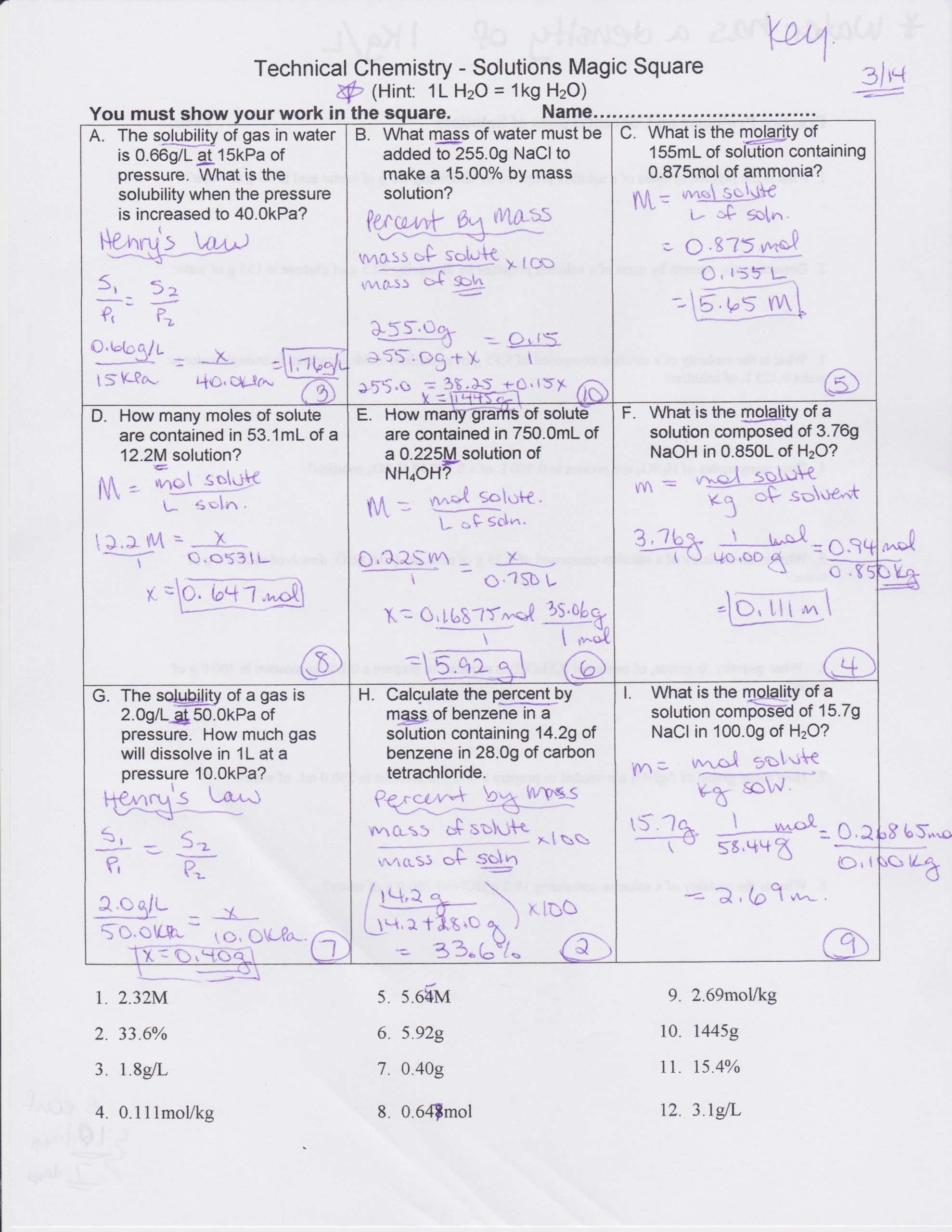 31 Molarity Worksheet Answer Key | Education Template