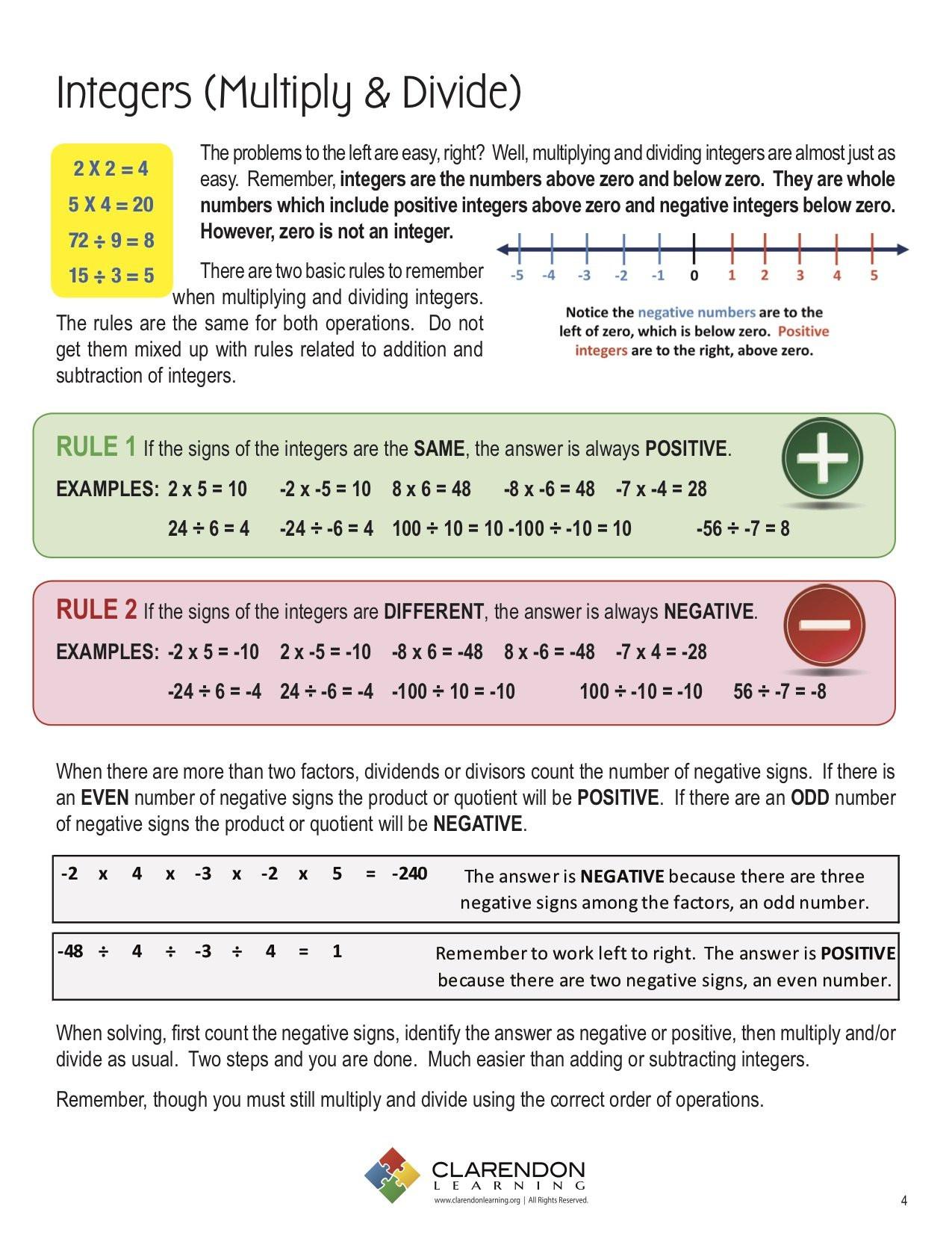 Multiply and Divide Integers Worksheet