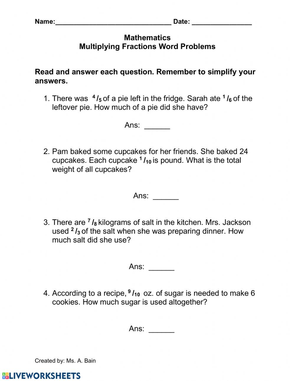 Multiplying Mixed Fractions Worksheet