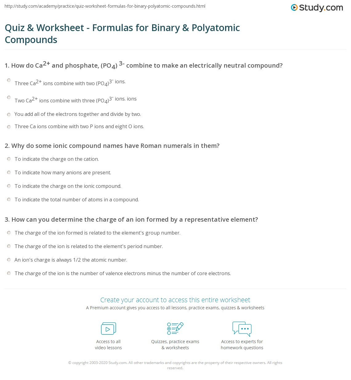 Naming Binary Ionic Compounds Worksheet
