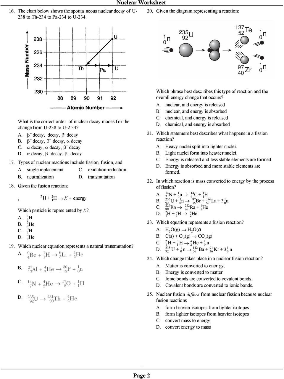 Nuclear Decay Worksheet Answers Chemistry
