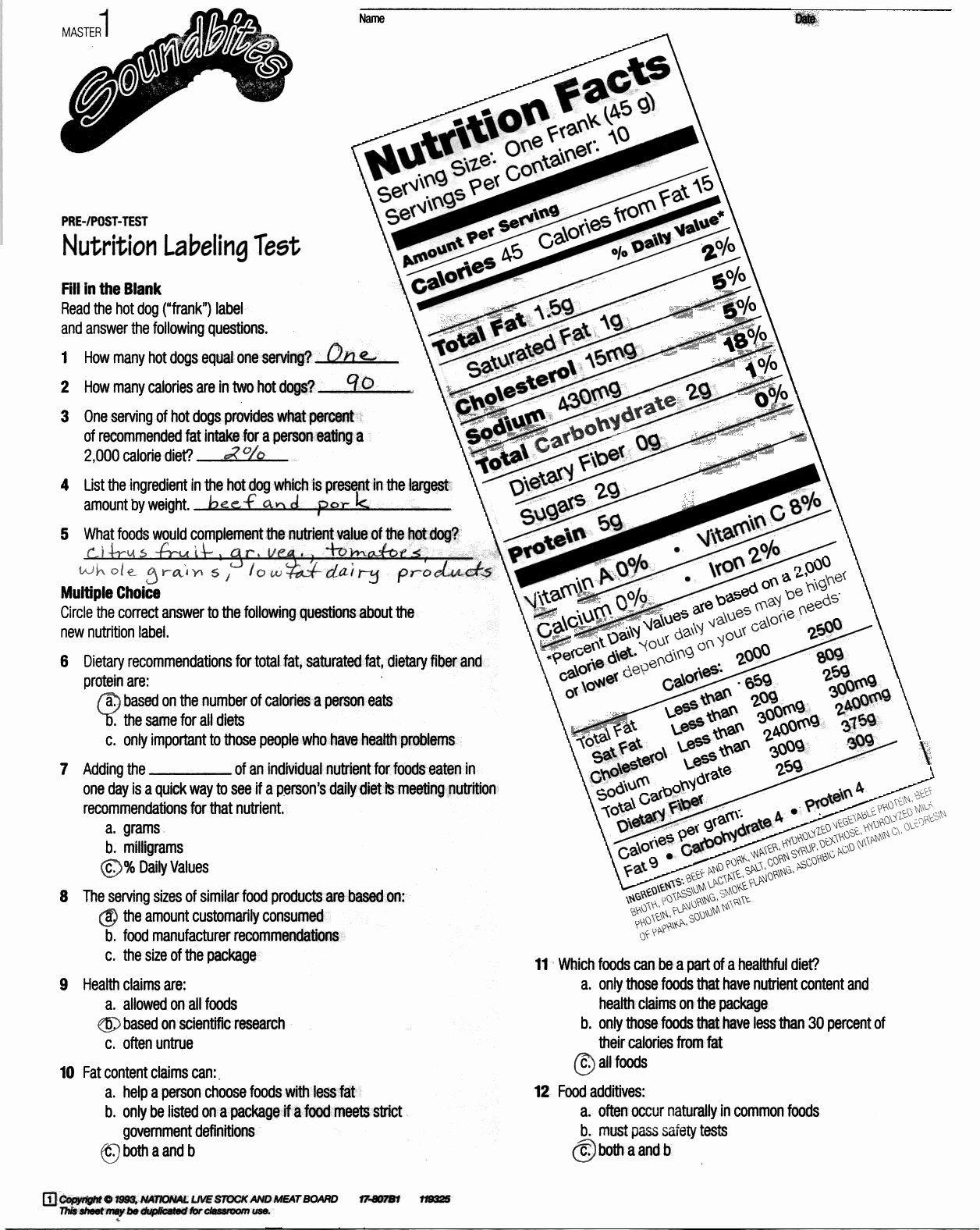 Nutrition Label Worksheet Answer Key Best Reading
