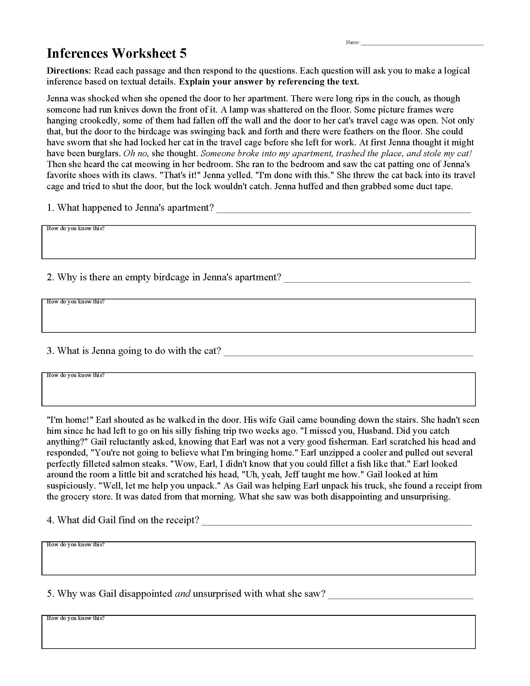 Observation and Inference Worksheet